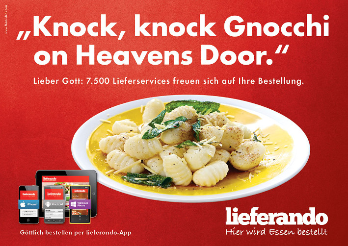 Lieferando Plakat Gnocchi on Heavens Door